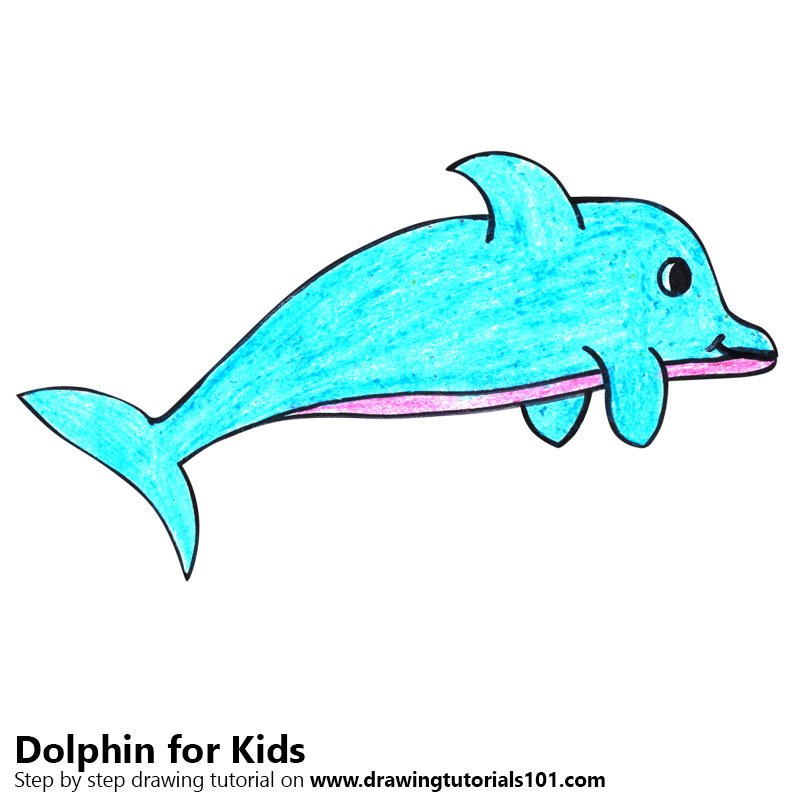 Learn How To Draw A Dolphin For Kids Very Easy Animals For Kids