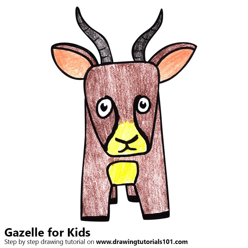 Gazelle for Kids Color Pencil Drawing