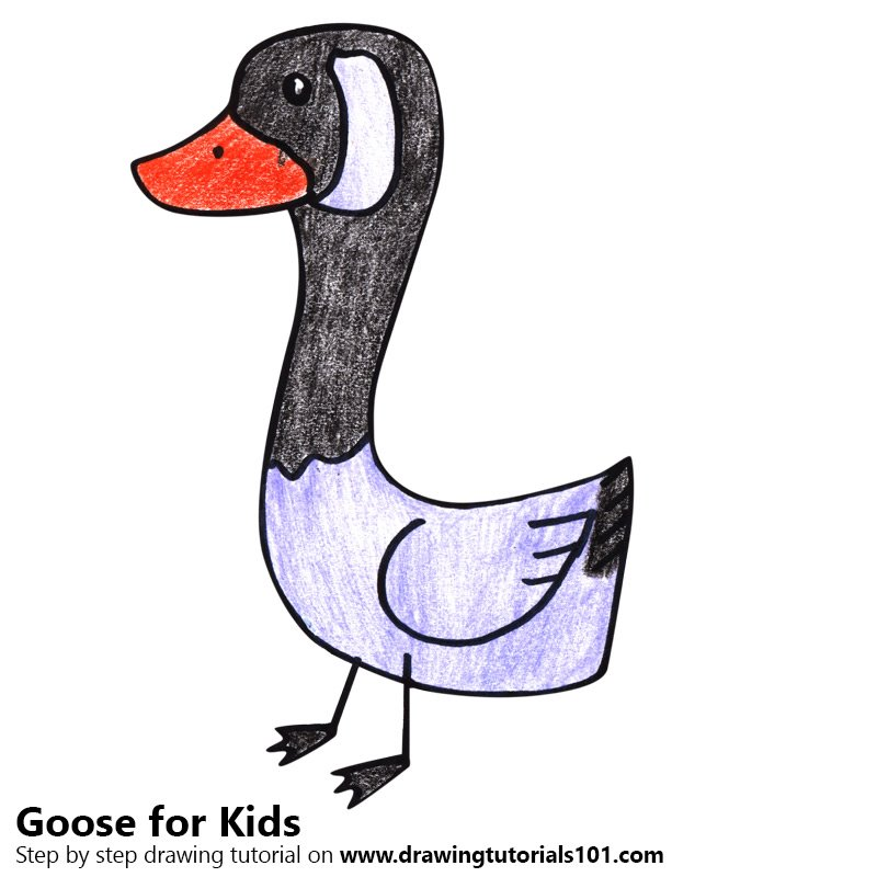 Goose for Kids Color Pencil Drawing