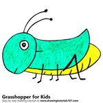 How to Draw a Grasshopper for Kids