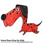 How to Draw a Great Dane Dog for Kids