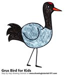 How to Draw a Grus Bird for Kids