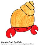 How to Draw a Hermit Crab for Kids