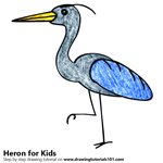 How to Draw a Heron for Kids