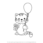 How to Draw a Kitten with Balloon