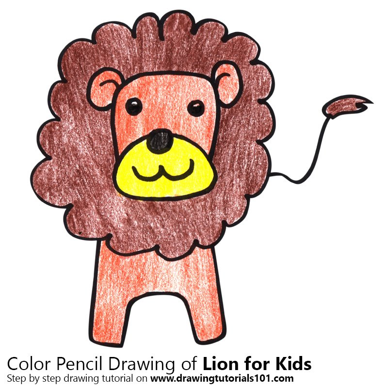 Lion for Kids Color Pencil Drawing