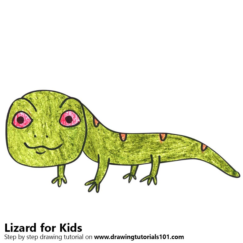 Learn How To Draw A Lizard For Kids Animals For Kids Step By Step