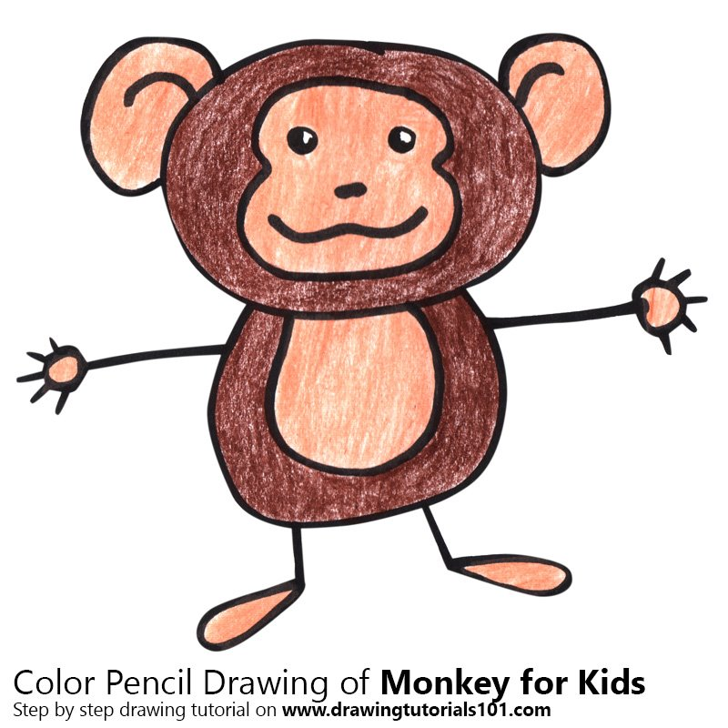 Monkey for Kids Color Pencil Drawing