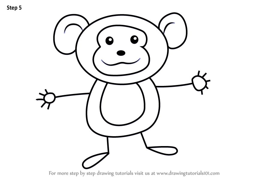 Learn How to Draw a Monkey for Kids (Animals for Kids ...