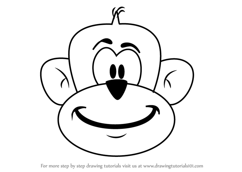 Learn How To Draw A Monkey Head For Kids Animals For Kids