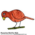 How to Draw a Passerine Bird for Kids
