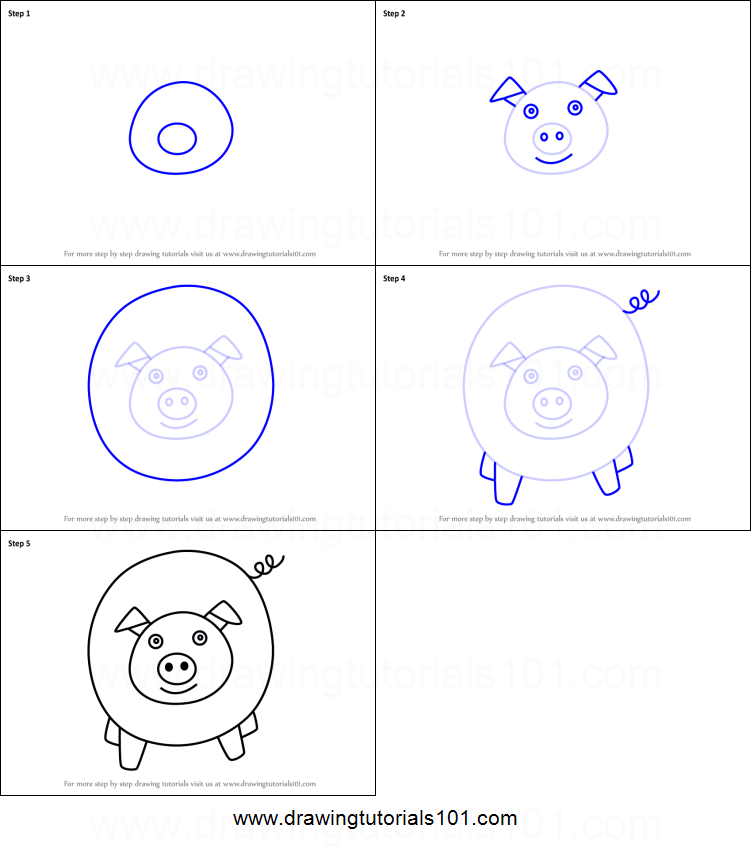 How To Draw A Pig For Kids Easy Printable Step By Step Drawing Sheet