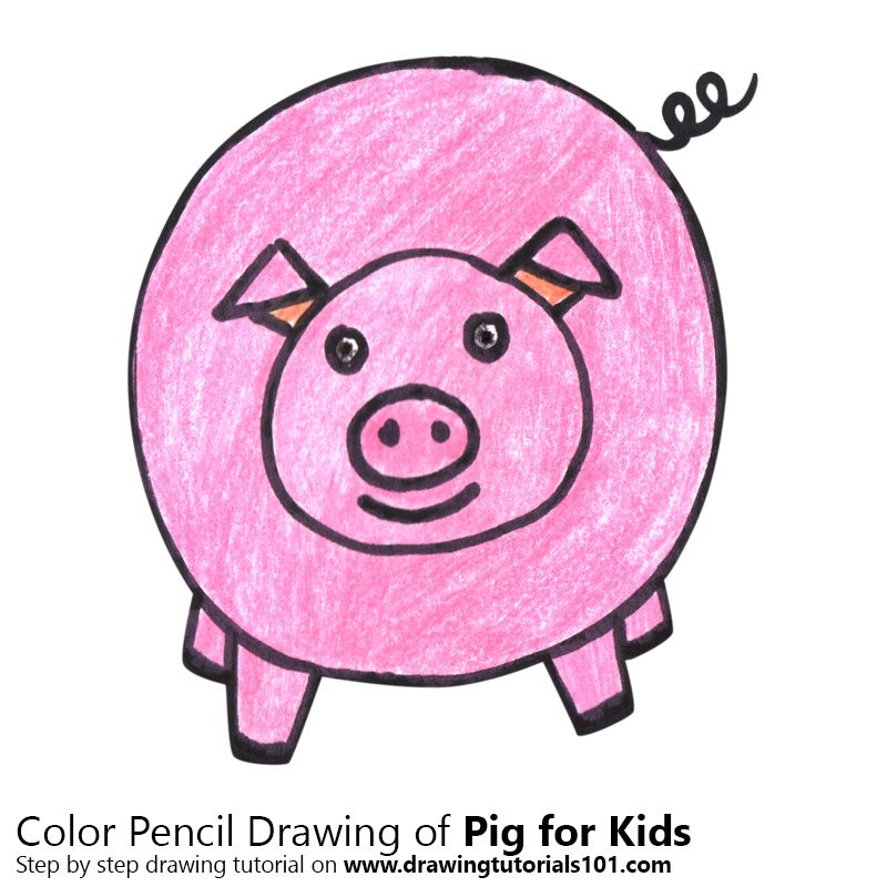 Pig For Kids Easy Colored Pencils Drawing Pig For Kids Easy With Color Pencils Drawingtutorials101 Com