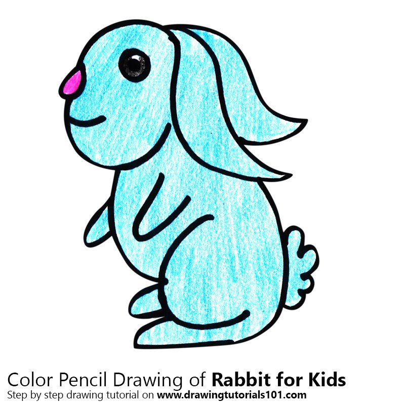 Rabbit for Kids Colored Pencils - Drawing Rabbit for Kids ...