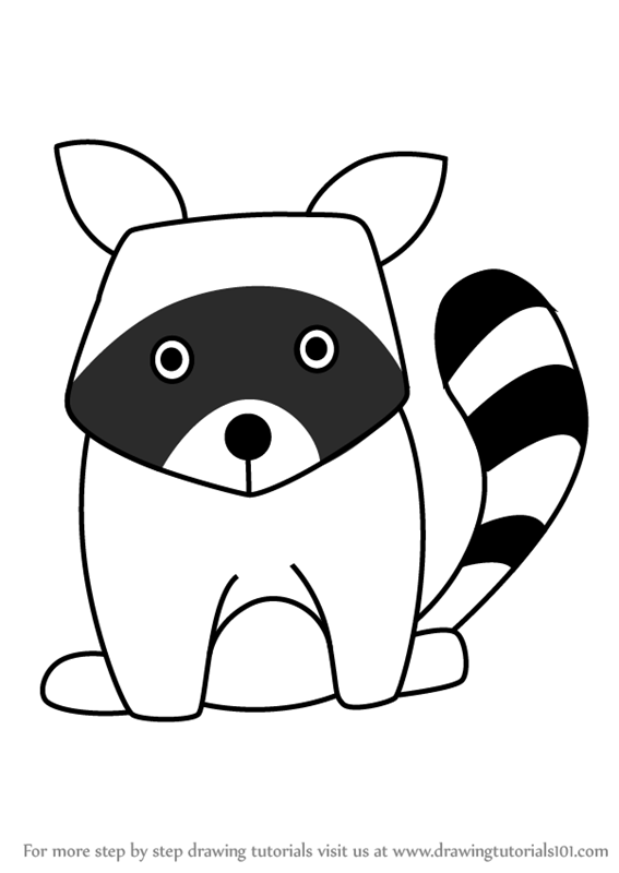 Learn How to Draw a Raccoon for Kids (Animals for Kids ... Raccoon Drawing Easy