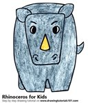 How to Draw a Rhinoceros for Kids Very Easy