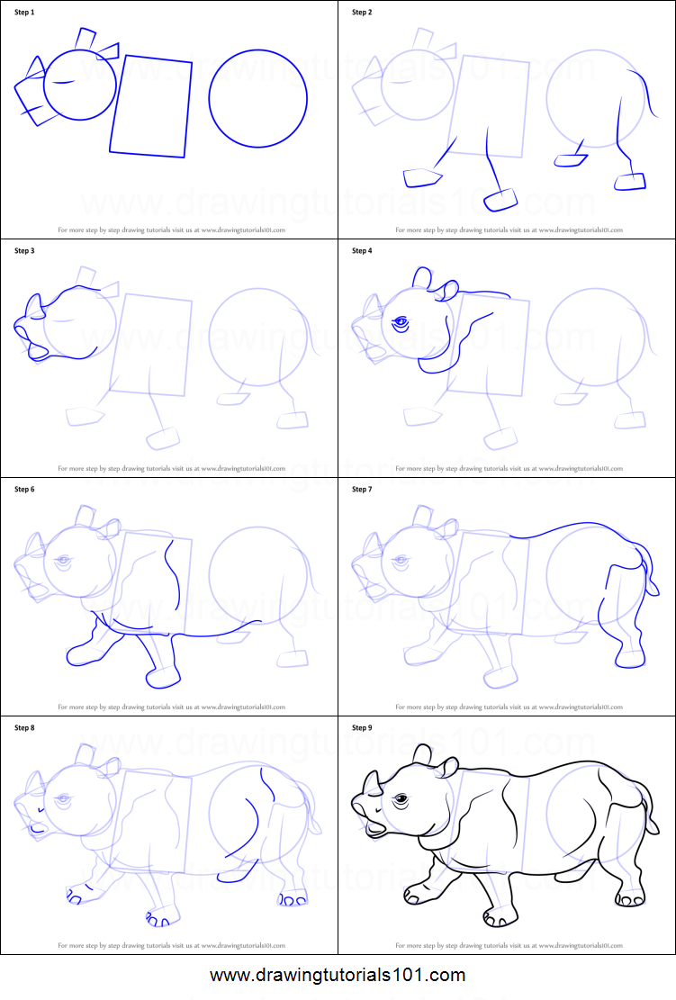 photograph relating to Rhino Printable known as How towards Attract Rhino for Small children printable move via move drawing