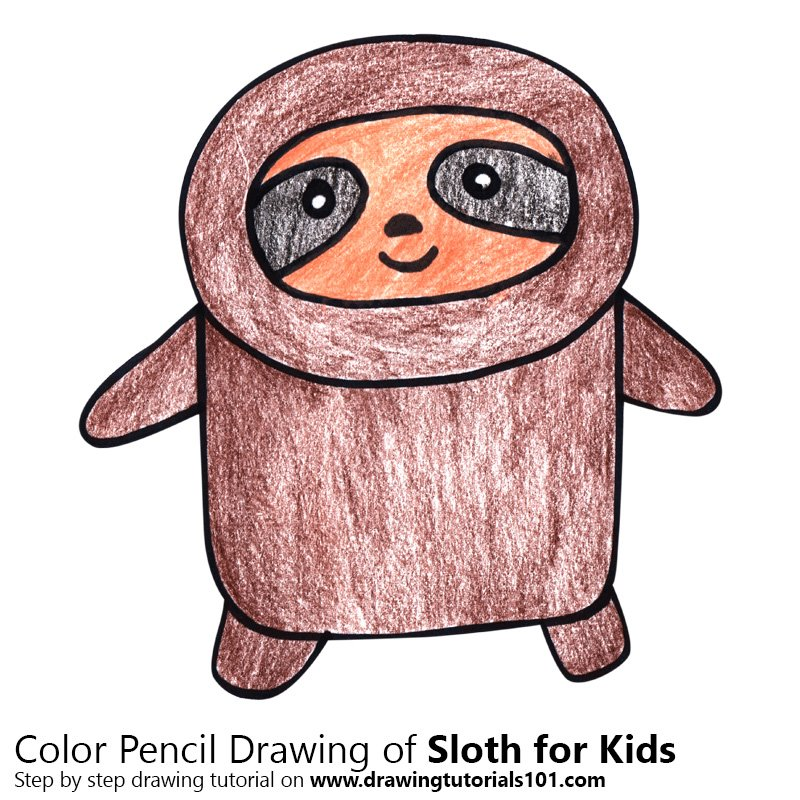 Sloth for Kids Color Pencil Drawing