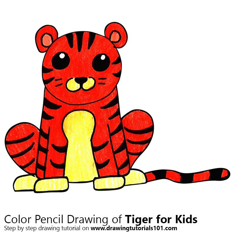 Learn How To Draw A Tiger For Kids Easy Animals For Kids Step By