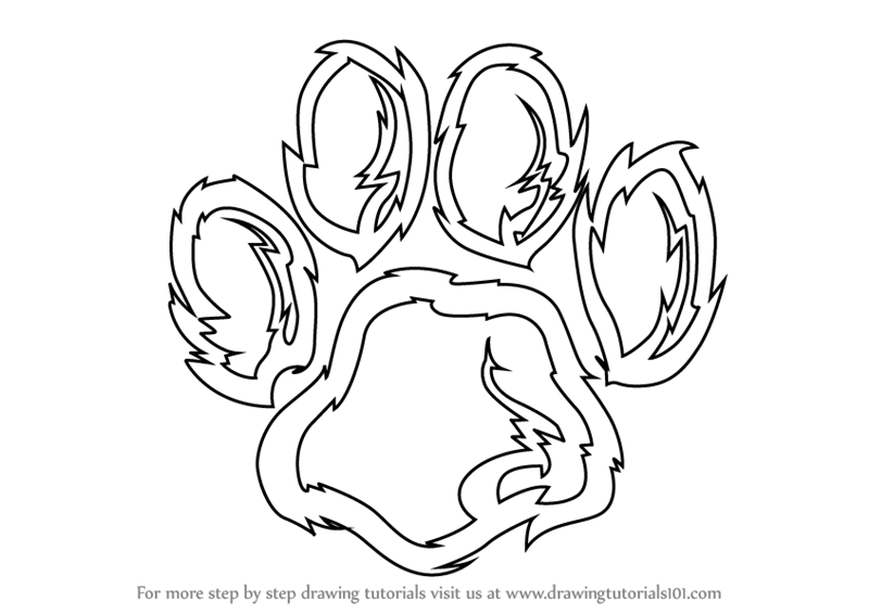 Tiger Line Drawing Easy : Learn how to draw a tiger paw animals for kids step by