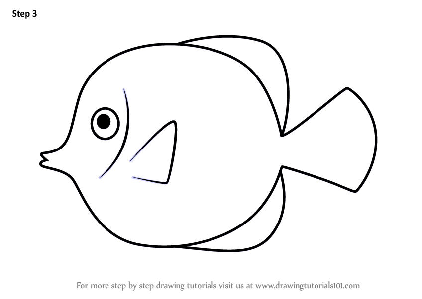 Learn How To Draw A Yellow Tang Fish For Kids Animals For Kids