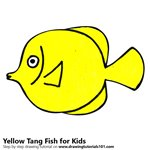 How to Draw a Yellow Tang Fish for Kids