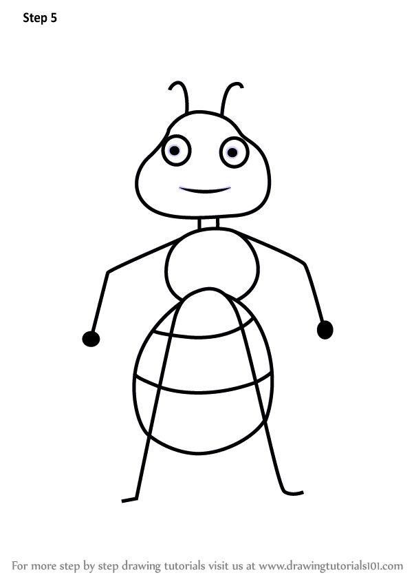 Learn How To Draw An Ant From Letter A (Animals With