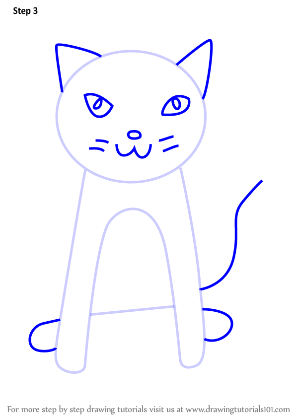 how to draw a cat step by step for kids