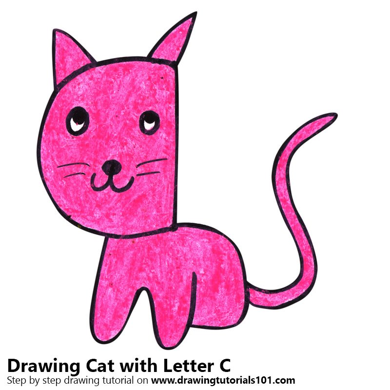 Cat from Letter C Color Pencil Drawing