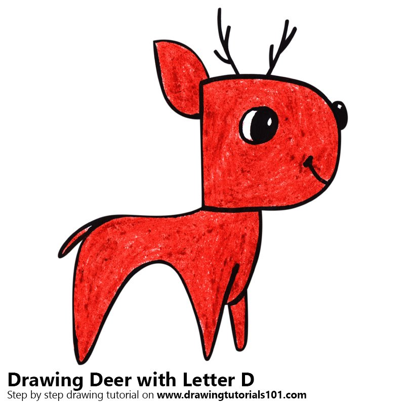 Deer from Letter D Color Pencil Drawing