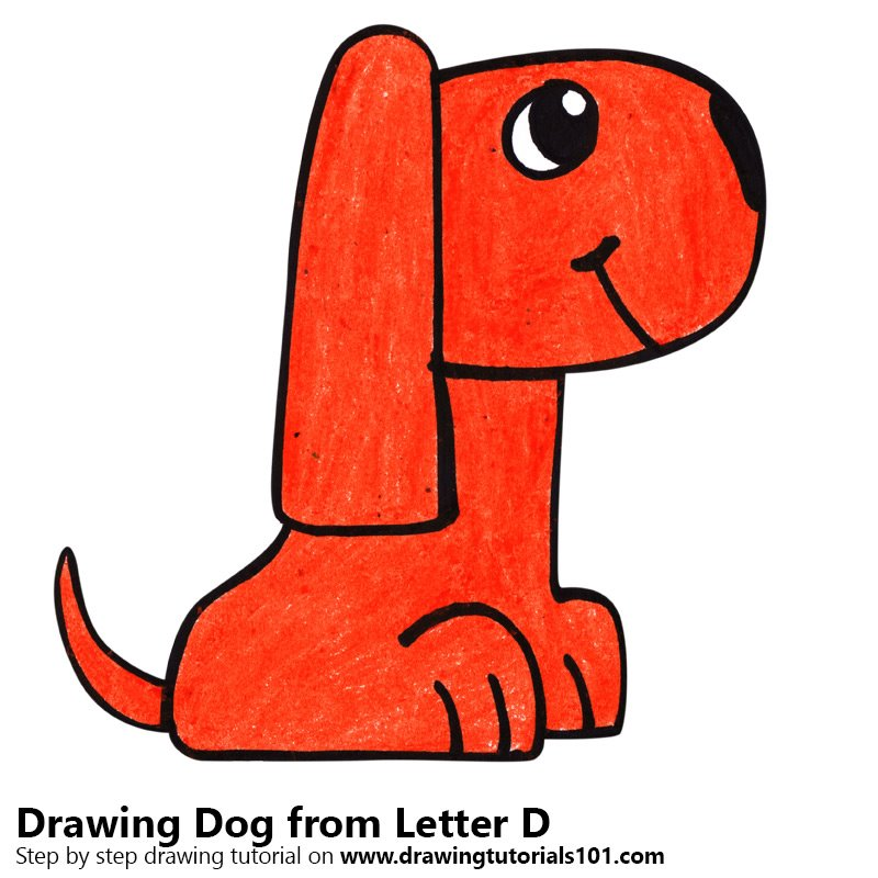 learn how to draw a dog from letter d animals with letters step by