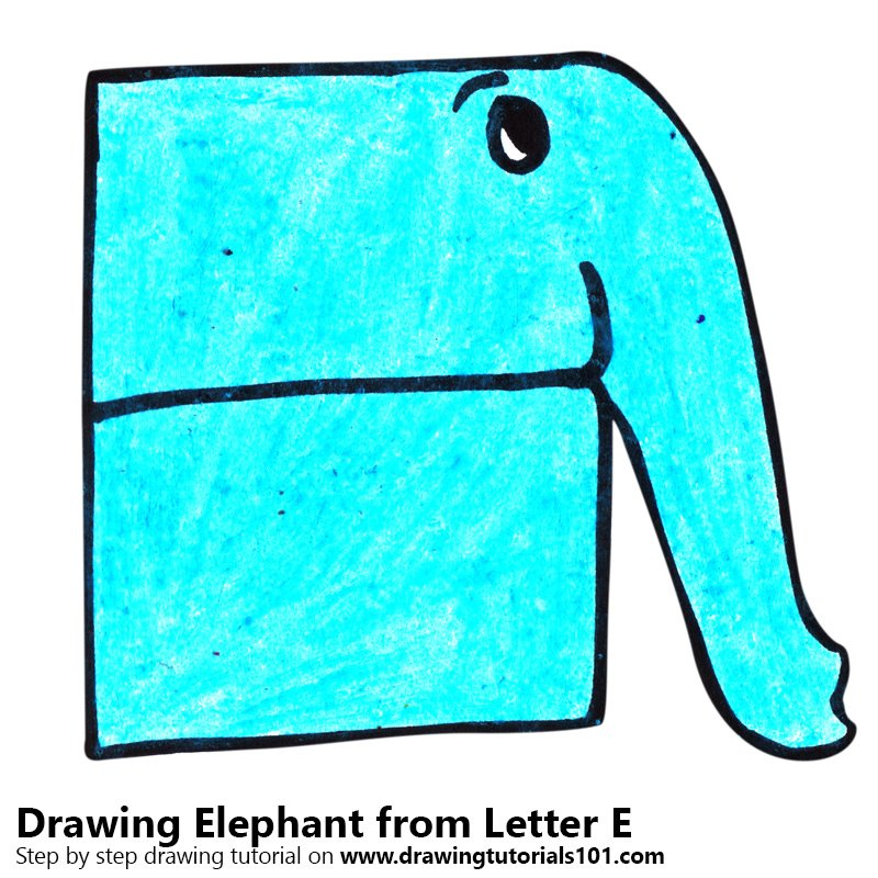Elephant from Letter E Color Pencil Drawing