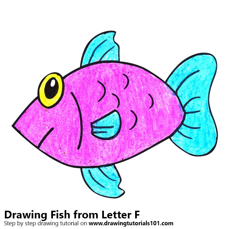 Fish From Letter F Colored Pencils Drawing Fish From Letter F With