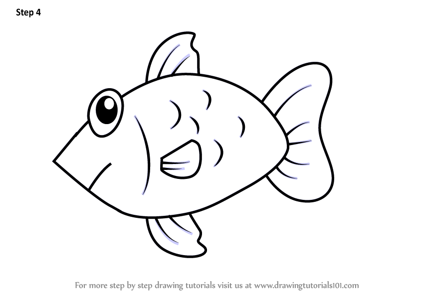 Learn How To Draw A Fish From Letter F Animals With Letters Step