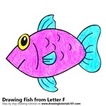 How to Draw a Fish from Letter F