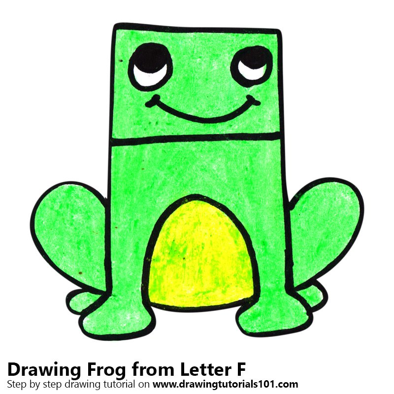 Frog from Letter F Color Pencil Drawing