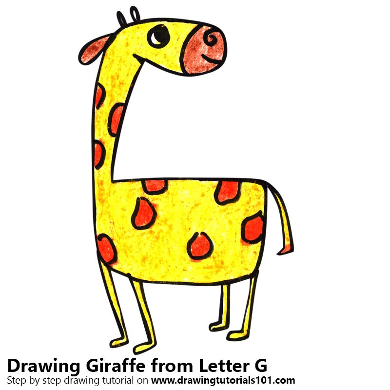 Giraffe from Letter G Color Pencil Drawing