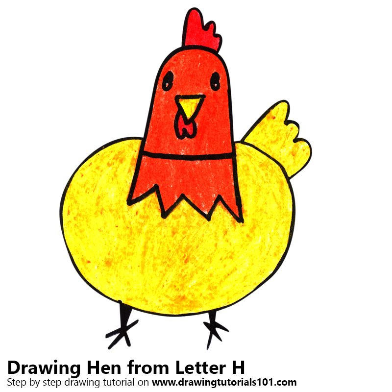Hen from Letter H Color Pencil Drawing