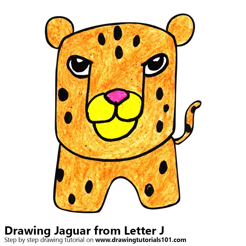 Learn How To Draw A Jaguar From Letter J Animals With Letters Step