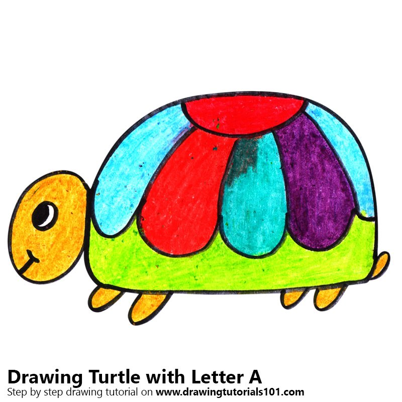 Turtle from Letter A Color Pencil Drawing