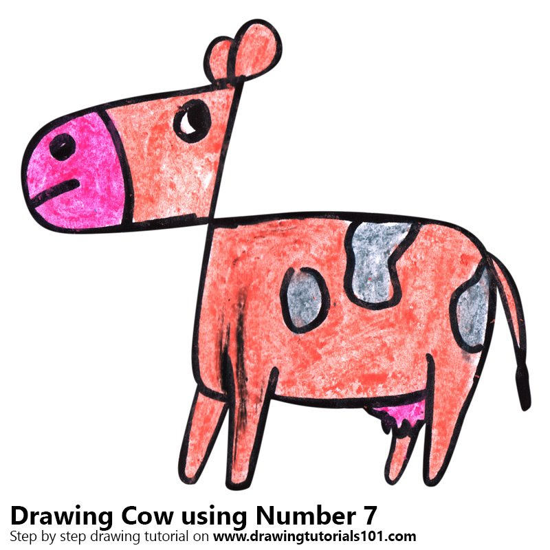 Learn How To Draw A Cow Using Number 7 Animals With Numbers Step