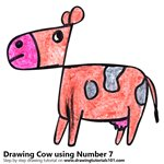 How to Draw a Cow using Number 7