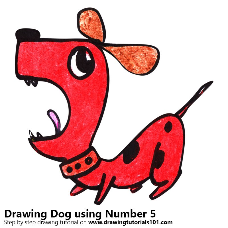 Dog using Number 5 Color Pencil Drawing