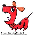 How to Draw a Dog using Number 5