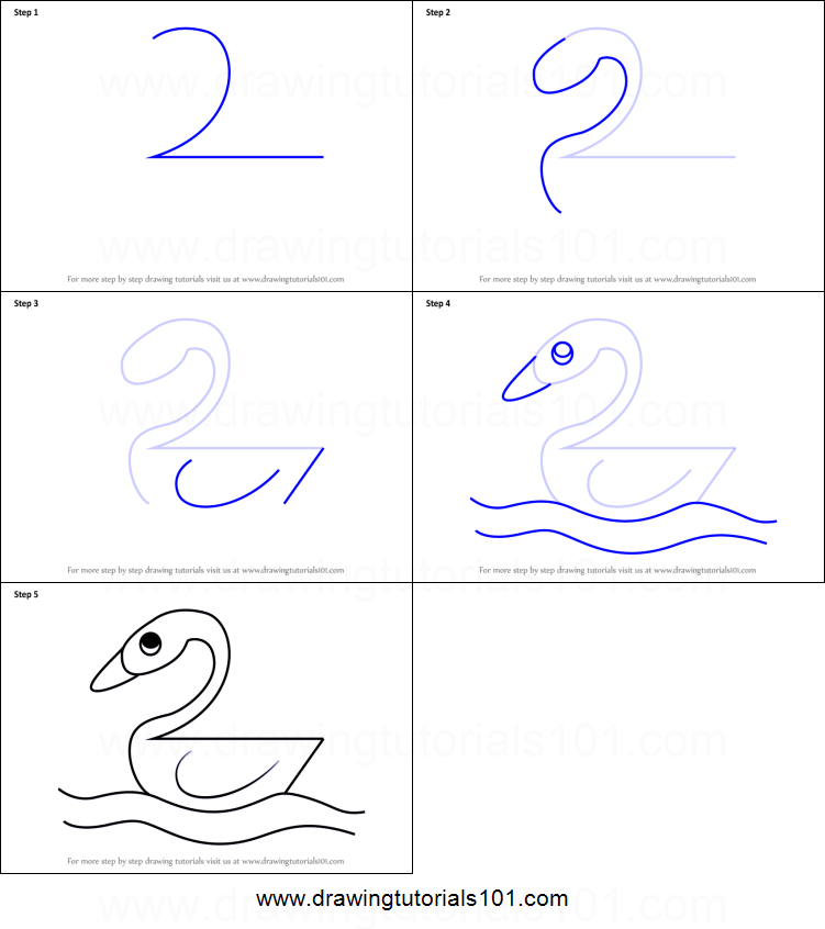 How to Draw a Duck using Number 2 printable step by step drawing ...