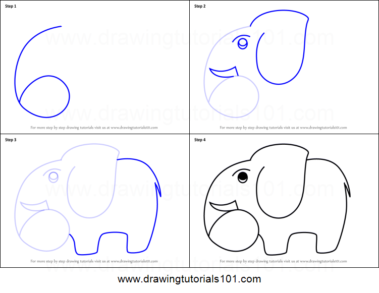 How To Draw A Elephant Using Number 6 Printable Step By Step Drawing