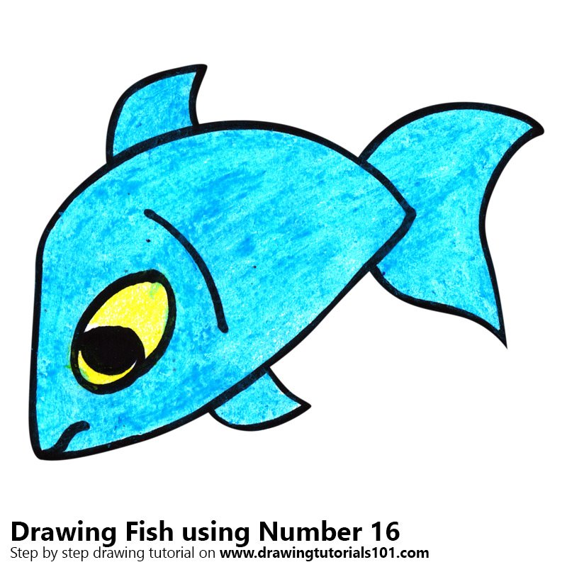 Learn How To Draw A Fish Using Number 16 Animals With Numbers Step