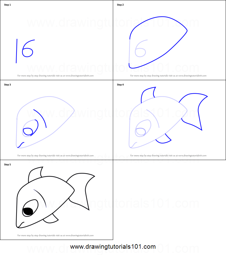 How To Draw A Fish Using Number 16 Printable Step By Step Drawing
