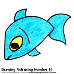 How to Draw a Fish using Number 16