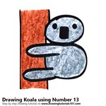 How to Draw a Koala using Number 13